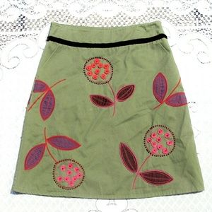 Boden Flower Embroidered Beaded A-line Skirt